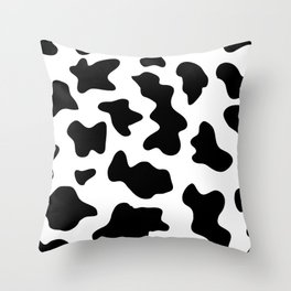 black and white ranch farm animal cowhide western country cow print Throw Pillow