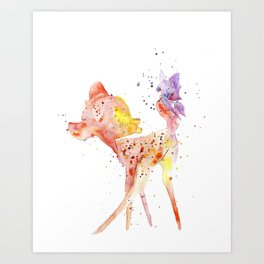 Bambi Meets Butterfly Art Print