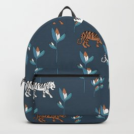 Little tiger jungle and birds of paradise flower kids wild animals navy neutral Backpack