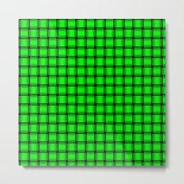 Small Neon Green Weave Metal Print