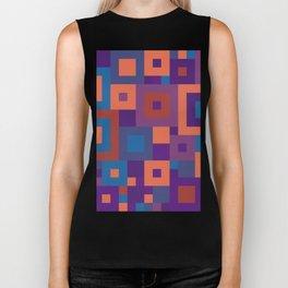 Colorful Squares Geometric Shape Patterns Biker Tank