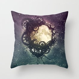 Clockwork Moon Throw Pillow