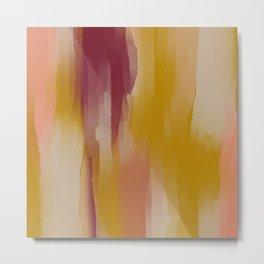 Mustard Cherry Blush Watercolor Fall Abstract Metal Print