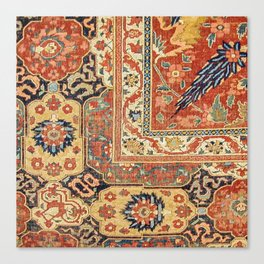 Indian Trellis II // 17th Century Ornate Medallion Red Blue Green Flowers Leaf Colorful Rug Pattern Canvas Print