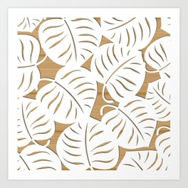 White lives on brown wood Art Print