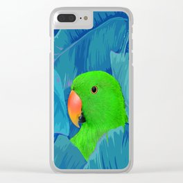 Parrot with banana leaves Clear iPhone Case