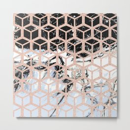 lilac marble with rose gold cube pattern Metal Print