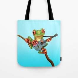 Tree Frog Playing Acoustic Guitar with Flag of Fiji Tote Bag