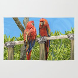 Scarlet Macaw Parrots Perching Rug