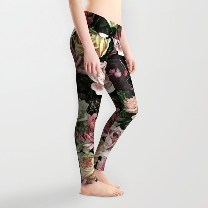 Vintage & Shabby chic - dark retro floral roses pattern Leggings