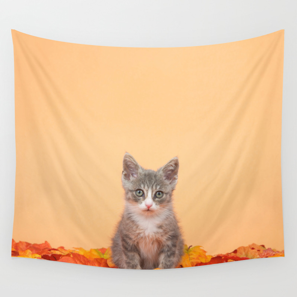 Autumn Kitten Wall Tapestry by Sheilaf2002 TPS7476305