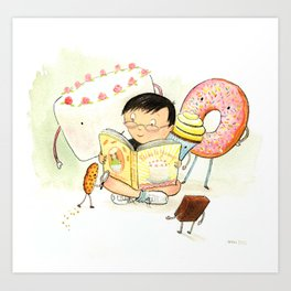 Cake, Cookie, Cupcake, and Brownie Friends Art Print