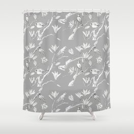 Magnolia flower and birds ink-pen drawing Shower Curtain