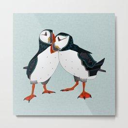 puffin pair celadon blue Metal Print