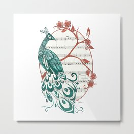Peacock (Peacock and Cherry Blossoms on Sheet Music) Metal Print