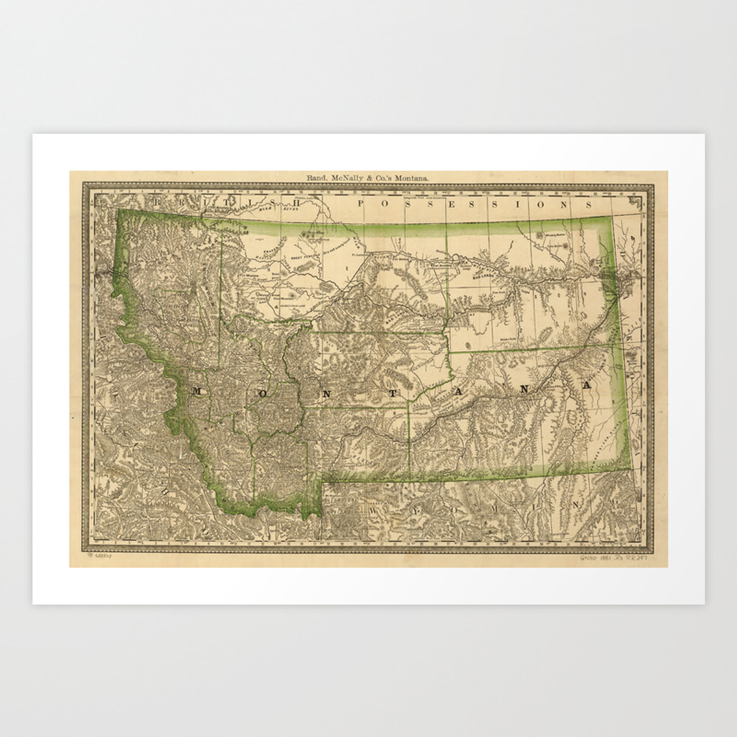 graphic relating to Printable Map of Montana identified as Basic Map of Montana (1881) Artwork Print