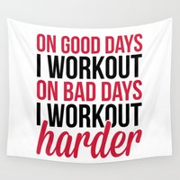 gym Wall Tapestries featuring Workout Harder Gym Quote by EnvyArt