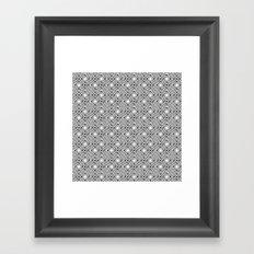Black and White Broken Diamond Swirl Pattern Framed Art Print