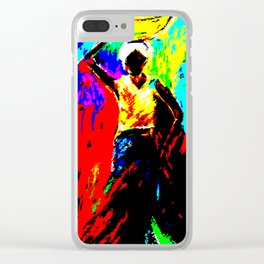 African Lady Carrying Fruit, Abstract Print Clear iPhone Case