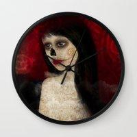 dia de los muertos Wall Clocks featuring Dia de los muertos by solocosmo