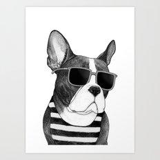 Frenchie Summer Style b&w Art Print