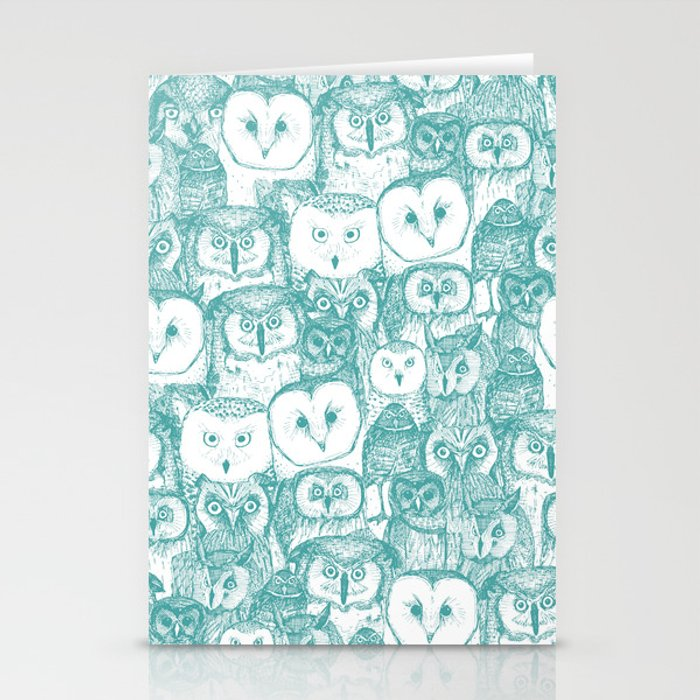 just owls teal blue Stationery Cards