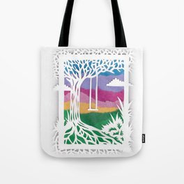 Sunset Swing Papercut Tote Bag