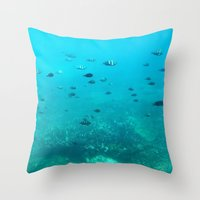 underwater Throw Pillows featuring Underwater by Shereen Yap