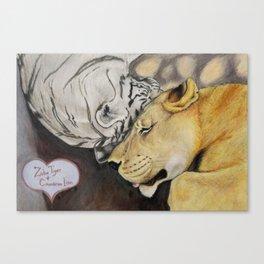 """CamBu"" Cameron Lion & Zabu Tiger Canvas Print"