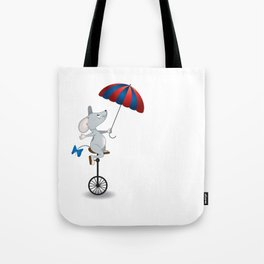 Mouse on unicycle Tote Bag