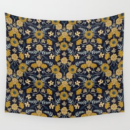 Navy Blue, Turquoise, Cream & Mustard Yellow Dark Floral Pattern Wall Tapestry
