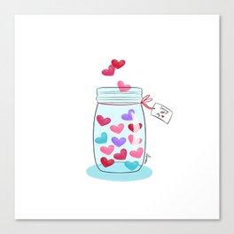 Saving My Love (Mason Jar Of Hearts) Canvas Print