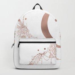 Letter G Rose Gold Pink Initial Monogram Backpack