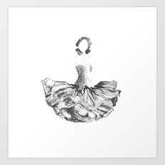Lady flower, black and white Art Print