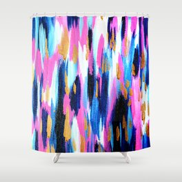 Spring Golden - Pink and Navy Abstract Shower Curtain