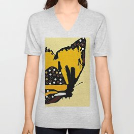 Yellow Butterfly Unisex V-Neck