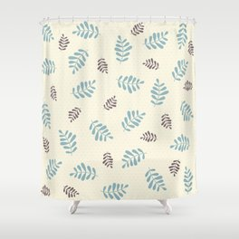 Falling Leaves – Blue & Brown Shower Curtain