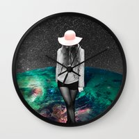 alone Wall Clocks featuring Alone by Cs025
