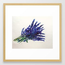 Fresh Cut Lavender Watercolors On Paper Framed Art Print