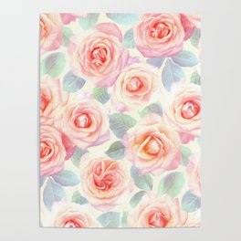 Faded Vintage Painted Roses Poster