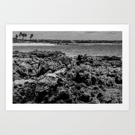 Landscape of sea rocks and the beach Art Print