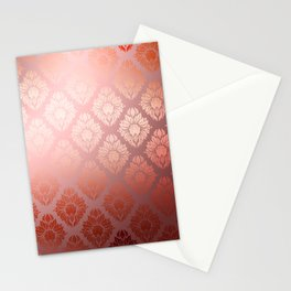"""Millennial Pink Damask Pattern"" Stationery Cards"