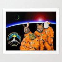 starfox Art Prints featuring STARFOX - The Lylat Space Program by John Medbury (LAZY J Studios)