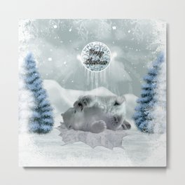 Cute polar bear baby Metal Print