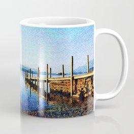 Derwentwater Shore and Dock, Lake District, UK. Watercolor Painting. Coffee Mug