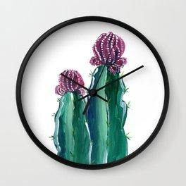 Purple and green cactus illustration Wall Clock