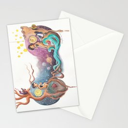 Boy and Girl Love At First Sight Across the Galaxy Stationery Cards