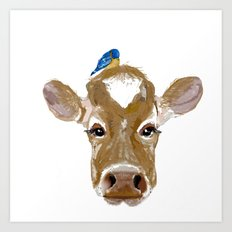Bluebird Cow Art Print