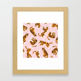 Cute tiger in the tropical forest hand drawn on pink background illustration Framed Art Print