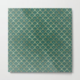 Teal and Gold Vintage Art Deco Dotted Scales Pattern Metal Print